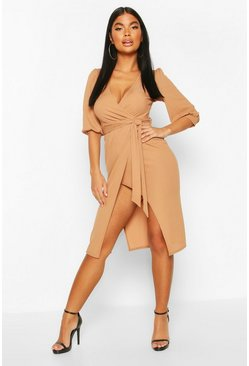 Toffee beige Petite Volume Sleeve Wrap Dress