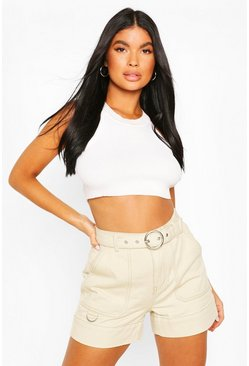 Ecru white Petite Belted Pocket Detail Denim Shorts