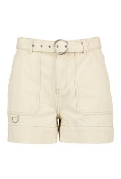Ecru Petite Belted Pocket Detail Denim Shorts