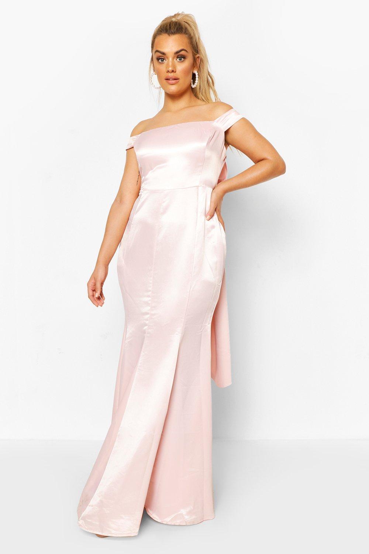 Plus Occasion Satin Bow Back Maxi Dress 13
