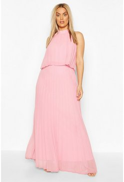Blush pink Plus Occasion Pleated Maxi Dress