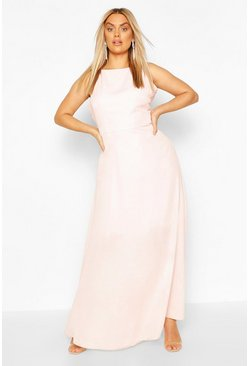 Soft pink pink Plus V Back Chiffon Occasion Maxi Dress