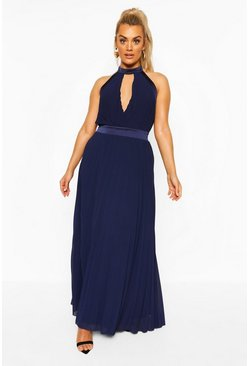 Navy Plus Occasion Cut Out Occasion Maxi Dress