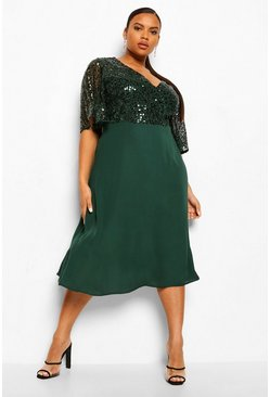 Emerald green Plus Occasion Sequin Angel Sleeve Midi Dress