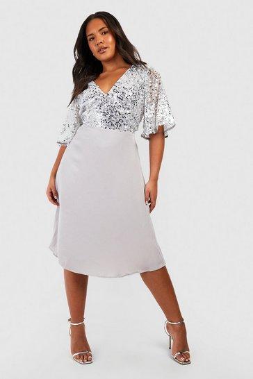 Silver Plus Occasion Sequin Angel Sleeve Midi Dress