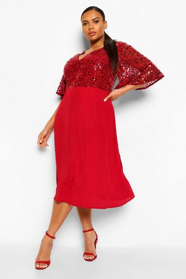 Wine red Plus Occasion Sequin Angel Sleeve Midi Dress