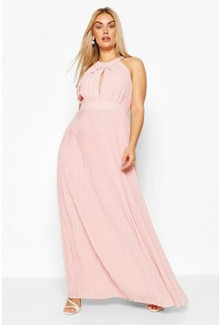 Sage Plus Bridesmaid Pleated Maxi Dress