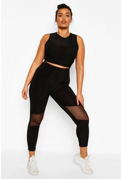 Black Plus Soft Touch Mesh Cut Out Gym Leggings