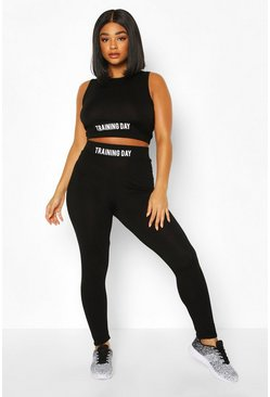 Black Plus Active 'Training Day' Slogan Jersey Leggings