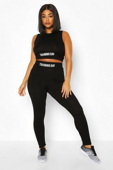 Black Plus Active 'Training Day' Slogan Jersey Leggings