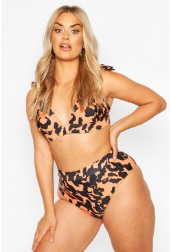 Brown Plus Leopard High Waisted Bikini