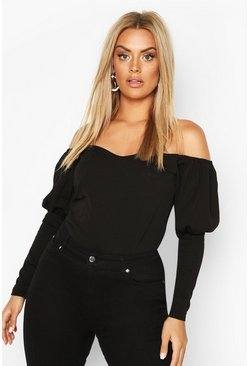Black Plus Off Shoulder Puff Sleeve Fitted Top