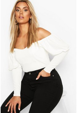 Ivory white Plus Off Shoulder Puff Sleeve Fitted Top