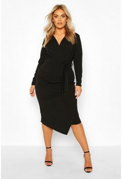 Black Plus Wrap Front Midi Dress