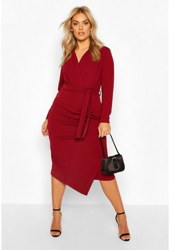 Wine red Plus Wrap Front Midi Dress