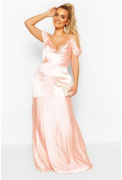 Blush pink Plus Bridesmaid Satin Cowl Maxi Dress