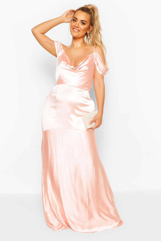 Plus Bridesmaid Satin Cowl Maxi Dress 6