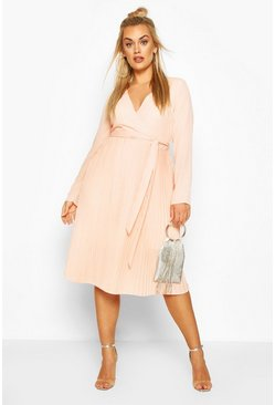 Blush Plus Occasion Pleated Midi Dress