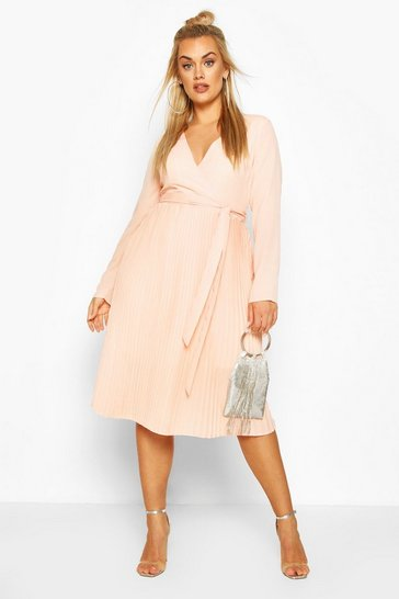 Blush pink Plus Occasion Pleated Midi Dress