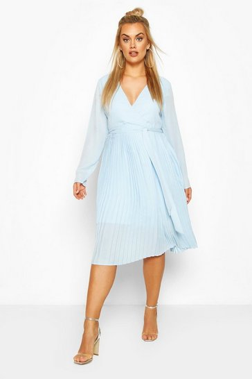 Powder blue blue Plus Occasion Pleated Midi Dress