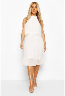 White Plus Occasion Pleated Midi Dress