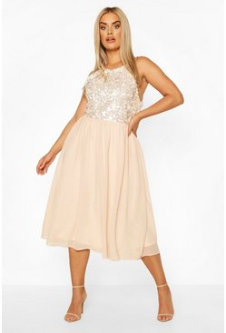 Nude Plus Occasion Sequin Midi Dress