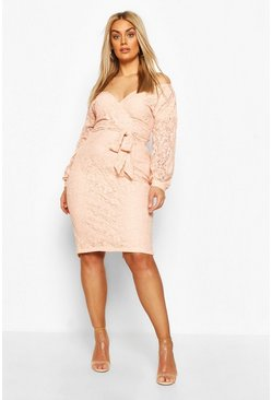 Blush Plus Lace Off The Shoulder Midi Dress