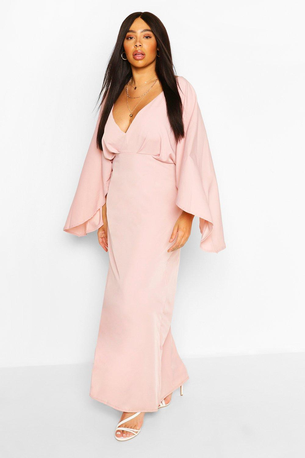 Plus Plunge Kimono Sleeve Maxi Dress 12