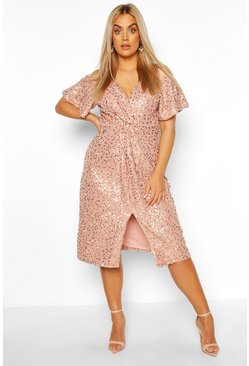 Blush pink Plus Occasion Sequin Knot Front Dress