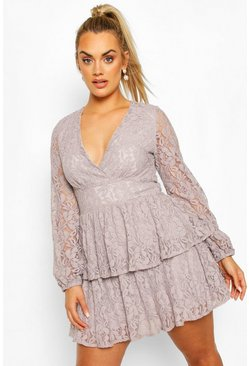 Silver grey grey Plus Lace Plunge Ruffle Skater Dress