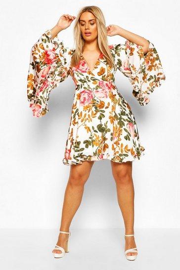 Coral pink Plus Floral Wide Sleeve Skater Dress