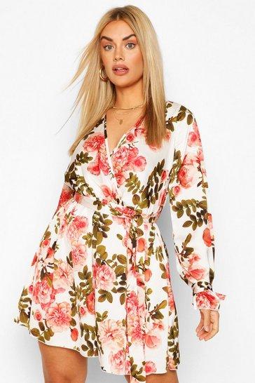 Coral pink Plus Floral Wrap Tie Waist Skater Dress