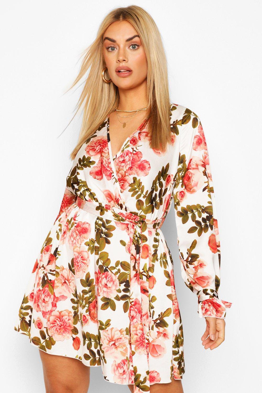 Plus Floral Wrap Tie Waist Skater Dress 2