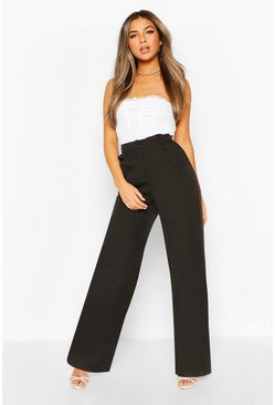 Black Petite Wide Leg Belted Tailored Trouser