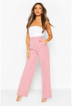 Mauve purple Petite Wide Leg Belted Tailored Pants
