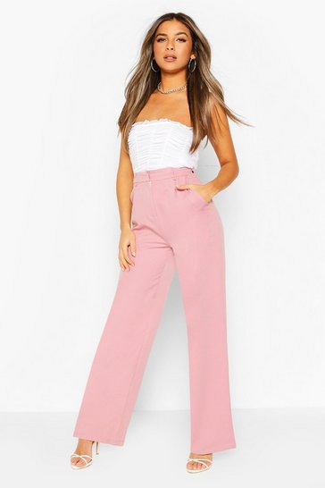 Mauve purple Petite Wide Leg Belted Tailored Trouser