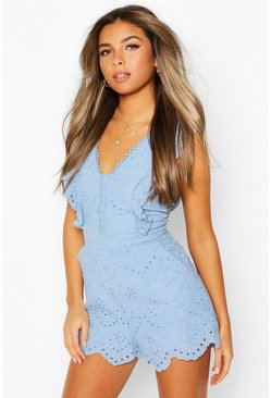 Blue Petite Frill Edge Broderie Playsuit