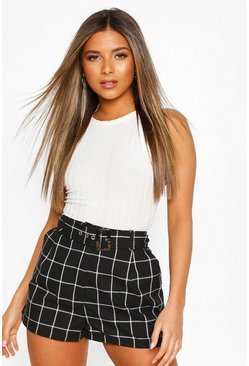 Black Petite Checked Tailored Shorts