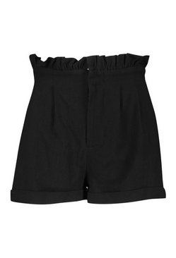 Black Petite Paperbag Waist Tailored Short
