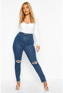Mid wash blue Plus Denim Rip Knee and Frayed Hem Skinny Jean