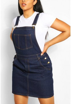 Dark blue blue Plus Denim Dungaree Frayed Hem Dress