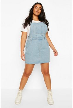 Light wash blue Plus Denim Dungaree Frayed Hem Pinafore Dress