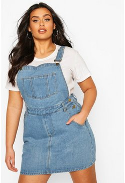 Mid wash blue Plus Denim Dungaree Frayed Hem Pinafore Dress