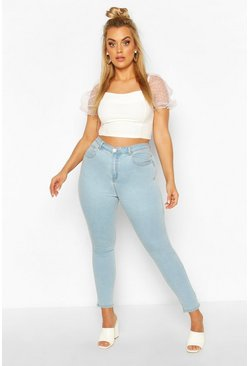 Light blue blue Plus High Waisted Light Wash Skinny Jeans