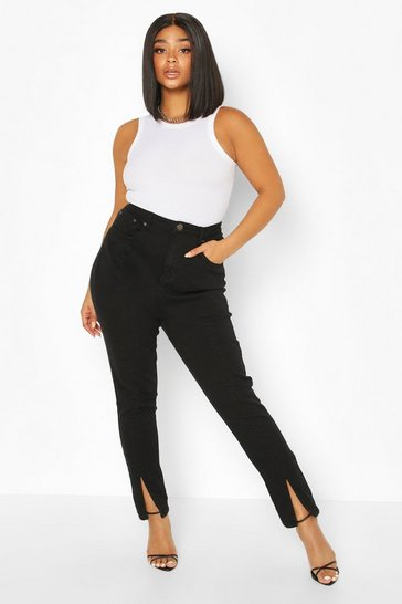 Black Plus Front Seam Skinny Jeans