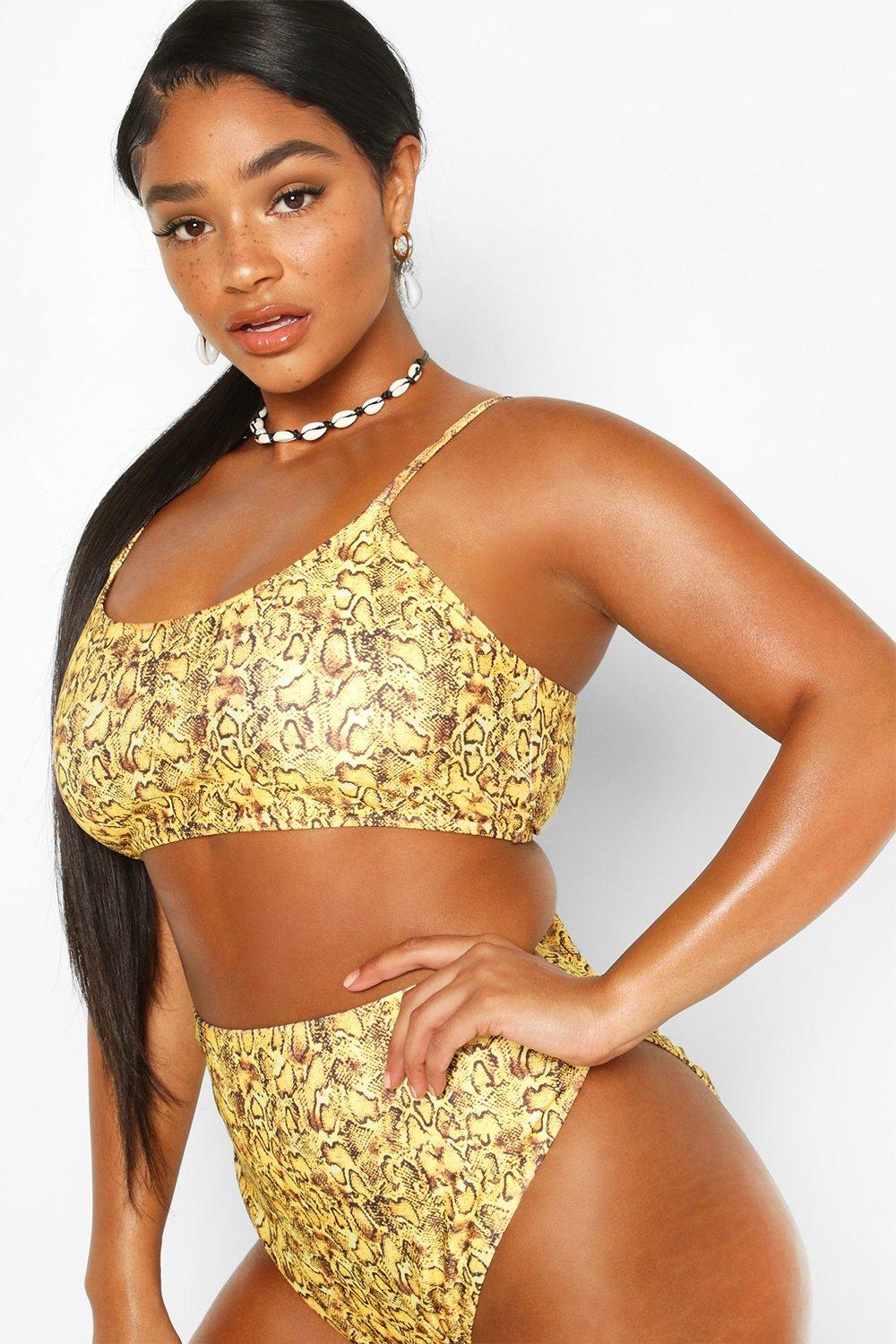 Plus Mustard Snake High Waist Bikini 11