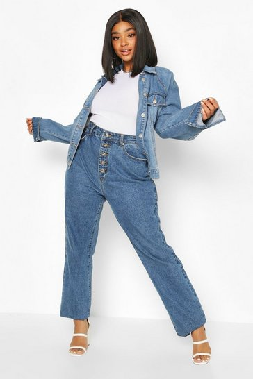 Mid blue blue Plus High Rise Wide Leg Jeans