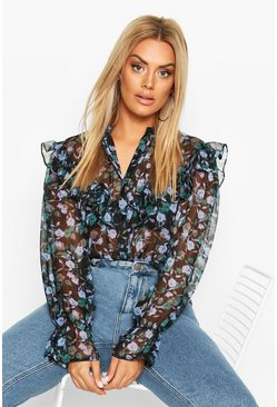 Black Plus Dark Floral High Neck Ruffle Blouse