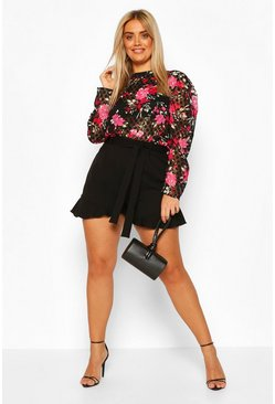 Black Plus Polka Floral Top