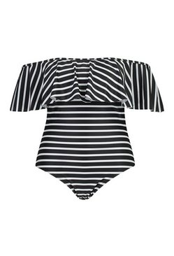 Black Plus Stripe Off The Shoulder Ruffle Swimsuit